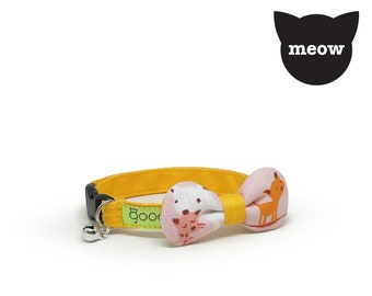 GOOOD Cat Collar | Rounded Bow - Mom & Kittens | 100% Pattern Pink Cotton Fabric | Safety Breakaway Buckle