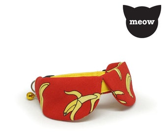 GOOOD Cat Collar | Dapper Round - Afternoon Jungle | 100% Red & Yellow Cotton Fabric | Safety Breakaway Buckle