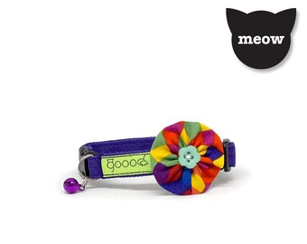 GOOOD Cat Collar | Bloomie - Fiesta | 100% Multi Colors Cotton Fabric | Safety Breakaway Buckle