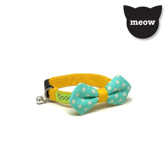Collier chat GOOOD | Angulaire de l'arc - points venteux | 100 % tissu vert & jaune | Boucle échappée de sécurité