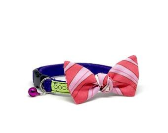 GOOOD Cat Collar | Flutterfly - Pink Pearl | 100% Pink & Purple Cotton Fabric | Safety Breakaway Buckle