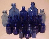 1890s- 1940s Group of 20 Embossed Cobalt Blue Glass Medicine Bottles &  Jars No. 4