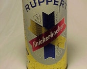 c1950s Ruppert Knickerbocker Jacob Ruppert New York, N.Y. Knickerbocker Twist Pack Vanity Top, Bottom Opened, Vintage Flat Top Beer Can No.3