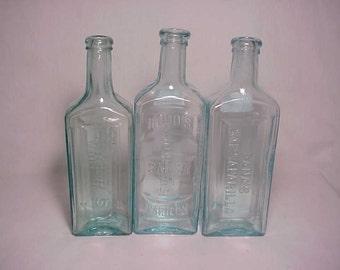 c1880s Collection of Three Aqua Blown Glass Sarsaparilla Bottles, Hood's Dana's and Ayer's , Country Primitive Decor, Drug Store Decor