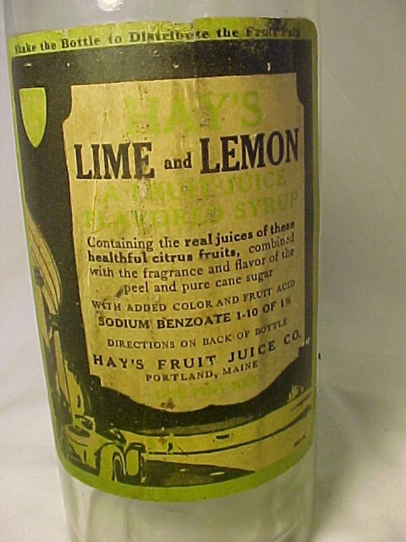 1920s Hay's Lime and Lemon a fruit juice flavored syrup Portland, Maine ,  Soda Fountain Syrup Bottle with paper Labels, Man Cave Decor