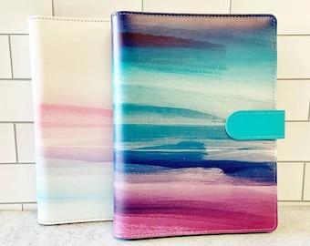 A5 6-Hole Binder - Choose Delaina (Teal/Purple) or Nicole (Pastel) Design ~ Watercolor Pattern