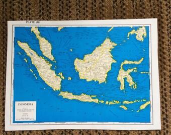 "Vivid Blue Map Vintage indonesia 8""x11"" pre 1970's"