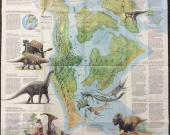 "Folded Map North America in the Age of Dinosaurs 1993 National Geographic 20"" x 27"""