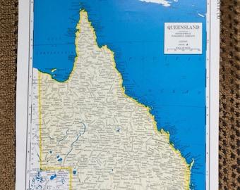 "Vivid Blue Map Vintage Queensland Australia 8""x11"" pre 1970's"