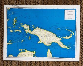 """Vivid Blue Map Vintage New Guinea 8""""x11"""" pre 1970's"""
