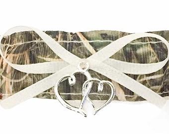 Double Heart Charm Camouflage Ivory Satin Wedding Bridal Prom Garter Set