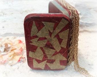 SALE, Altered Tin Box, Stash Box, Change Purse, Makeup Case, Keepsake Box, Metal Wallet, Treasure Box, Geometric Design, Red
