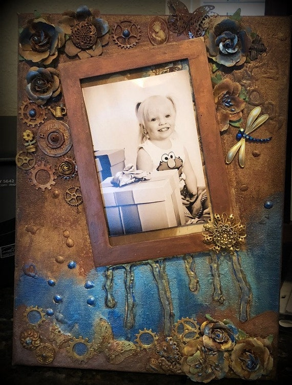 Photo Frame Mixed Media On Canvas 12 x 9 x 1/2