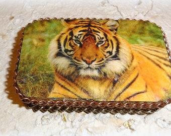 SALE, Tiger, Animal Lovers, Altered Altoid Tin Box, Keepsake Box, Treasure Box, Memory Box, Birthday Gift, Coin Purse, Credit Card Case
