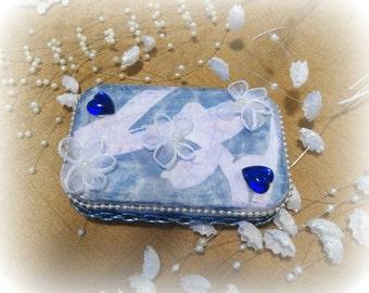 SALE, Brides Maid Gift, Embellished jewelry case, credit card case, Decorative keepsake box, trinket box, treasure box, Altered Tin box Blue