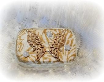 Ring box, Brides Maid Gift, Altered Altoid Mini Tin, Mini Tin, Keepsake Box, Altered Tin Box, Hand decorated Box, Upcycle Recycle, Butterfly
