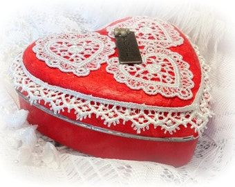 Valentine Heart Shaped Tin Box, Red, Decorated Tin Boxes, Treasure Box, Embellished Keepsake Box, Memory Keeper, Jewelry Box, Hand Decorated
