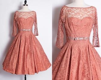 vintage 1960s 1950s lace dress/ vintage prom dress/ lace party dress/ salmon rose orange/ illusion lace/ bridesmaid/ sheer lace long sleeve