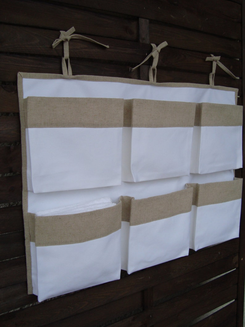 linen nursery organizer hanging  storage girl  boy storage bag Canvas white crib storage nursery accessory caddy organizer containers