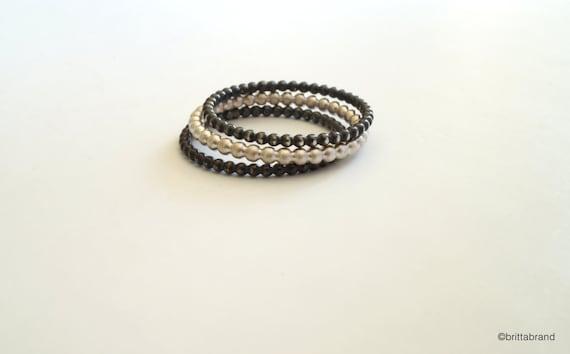 Silber Perlen solide Stapeln Ringe / / feine Perle Ringe / / | Etsy