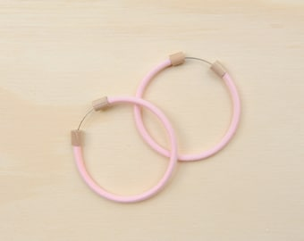 Circlet Hoop Earrings in Pastel Pink