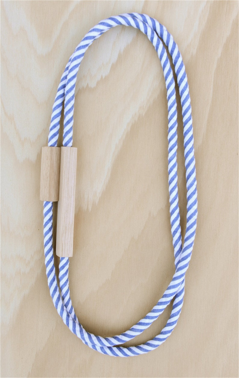 2 Piece  WOOD and FABRIC Necklaces   Striped Cotton in Denim image 0