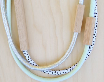 3 piece MIXED - WOOD & FABRIC necklaces - Metallic Silver, Pale Mint and Dot Print Cotton