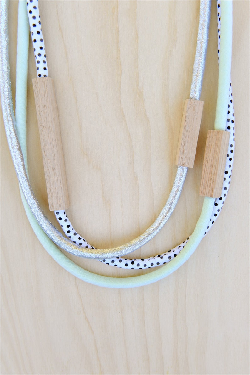 3 piece MIXED  WOOD & FABRIC necklaces  Metallic Silver image 0