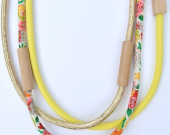 3 piece MIXED - WOOD & FABRIC necklaces - Gold Metallic, Floral, Bright Yellow