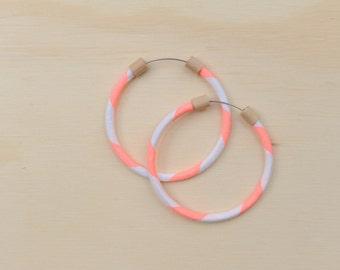 Circlet Hoop Earrings in Neon Salmon Stripe
