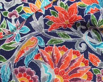 60 Inches long Vintage Japanese Smooth Silk Tropical Exotic Floral Fabric