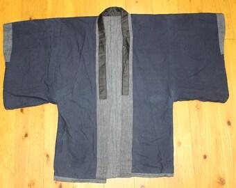 Vintage Japanese KIDS Indigo Cotton Thicker Sashiko Kendo Gi Akido Budo Kimono Haori Jacket Swordsman AWA4hetG3
