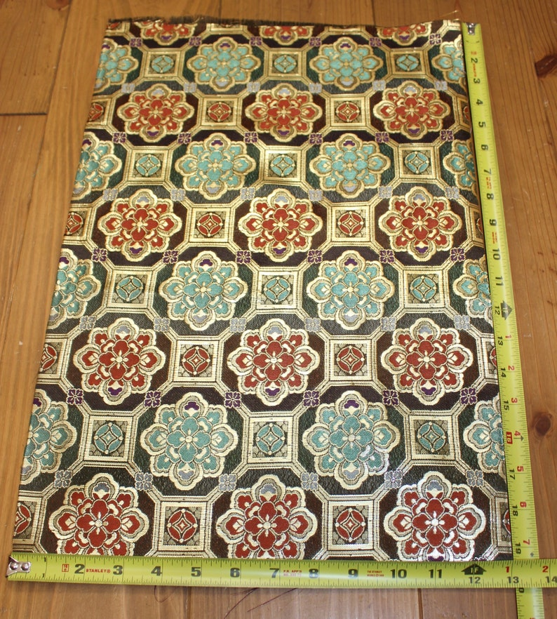 19 Inches long Vintage Japanese Exotic Obi Butt Fabric Piece Remnant