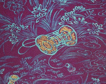 58 Inches long Vintage Japanese Smooth Silk Tropical Exotic Floral Fabric