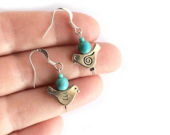 Turquoise Howlite Southwest Earrings Sale 20/% OFF Blue Bird Earrings Carnelian