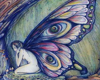 Fairy fantasy art print from original watercolour painting of a fairy
