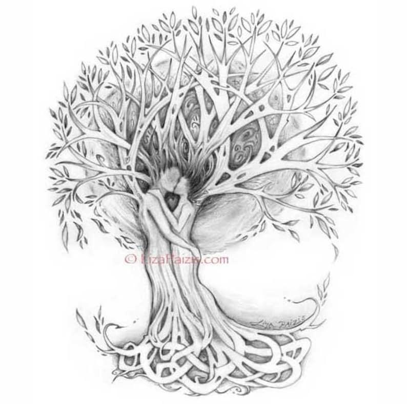 Tree Of Love Art Print Tree Lovers Romantic Art Print From Etsy