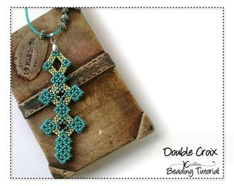 Beading Pattern, Cubic Right Angle Weave Double Cross Beading Instructions, DIY Beaded CRAW Cross Jewelry Beading Tutorial, DOUBLECROIX