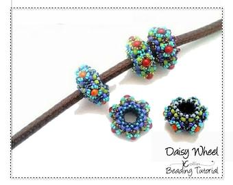 Beading Patterns, RAW Beaded Beads Pattern,Beading Tutorials,  DAISY WHEEL