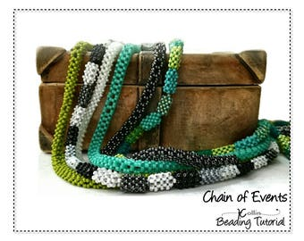 Flat CRAW Rope Beading Pattern Skinny Bohemian Hippie Cubic Right Angle Weave Seed Bead Instructions Beaded Jewelry Tutorial CHAIN of EVENTS