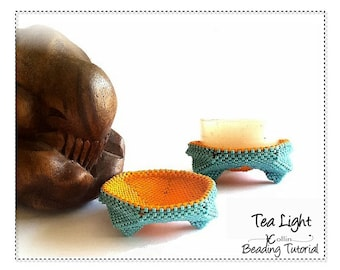 Beading Pattern, Off Loom Beadweaving Patterns, Seed Bead Tutorial, Peyote Stitch Instructions, Beaded Tea Light Candle Stand  TEA LIGHT
