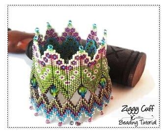 Beading Pattern, Geometric Peyote stitch, Rick Rack, Double walled cuff, MRAW Beading Instructions, seedbead Jewelry Tutorial,  ZIGGYCUFF