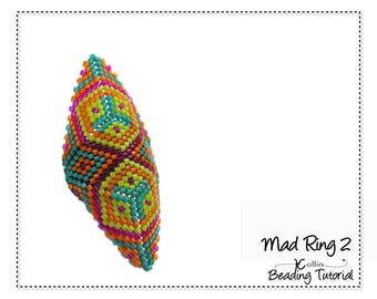 Beading Pattern Peyote Stitch Shield Shaped Triangle Tribal Rings Charted Instructions DIY beaded Jewelry Tutorial PDF Download MADRING 2