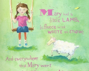 Mary Had Little Lamb, Nursery Rhyme, Sheep, Nursery Art, Children's Art , Modern Version, Print