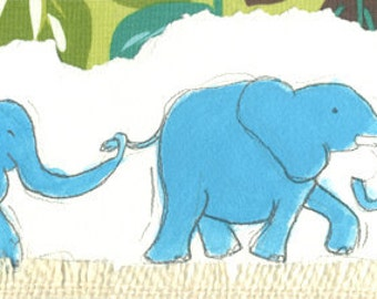 Blue, Elephants, Baby Art, Fabric Collage, Watercolor (Limited Edition print)