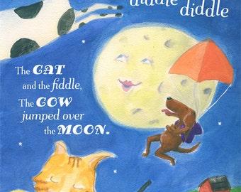 Hey Diddle Diddle Cat Fiddle, Nursery Rhyme, Nursery Art, Children's Illustration, Midnight Blue, Cow, Print