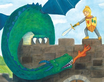Brave Knight Fighting Green Dragon Print, Wall Decor, Children's Art