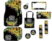 Monogrammed Car Accessories Set, Car Mats, Keychain, License Plate Frame, Personalized Coasters, Seat Belt Cover, Seat Bag, Sunflower