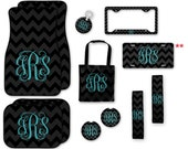 Monogrammed Car Accessories Set, Car Mats, Keychain, License Plate Frame, Personalized Coasters, Seat Belt Cover, Seat Bag, Chevron