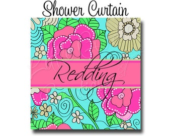 Personalized Monogram Shower Curtain And Bath Mat LP Inspired Flowers